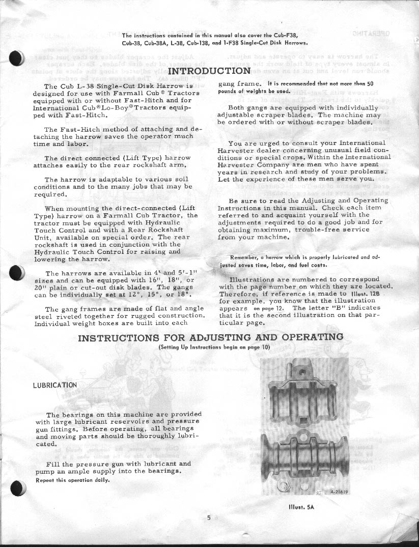 Cub l 38 disc harrow 1966 manual page 5 pooptronica