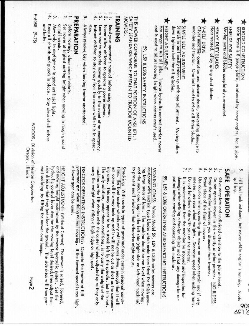 Woods 59-LB Rotary Mower Manual