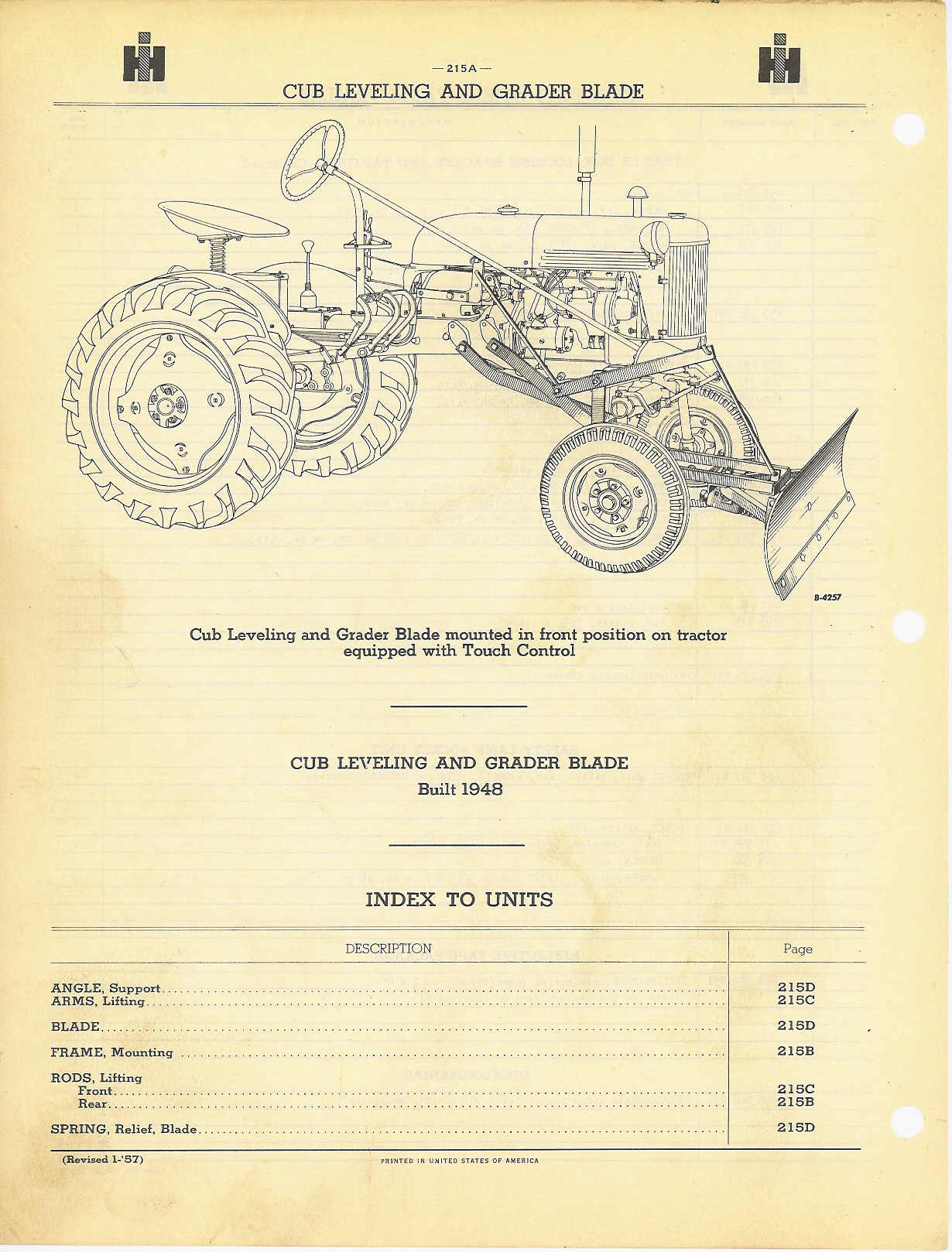 Farmall Cub Blade Diagrams Reinvent Your Wiring Diagram Ford 8n 12 Volt Also M Leveling And Grader Rh Farmallcub Info Parts 1951
